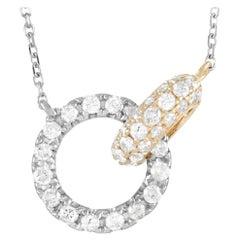 LB Exclusive 14k White Gold, Yellow Gold 0.39 Ct Diamond Pendant Necklace