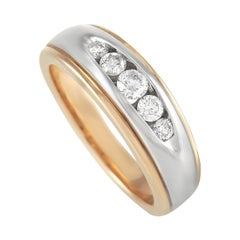 LB Exclusive 14k Yellow and White Gold 0.50 Ct Diamond Band Ring