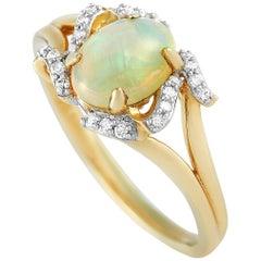 LB Exclusive 14 Karat Yellow Gold 0.10 Carat Diamond and Opal Ring