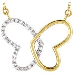 LB Exclusive 14 Karat Yellow Gold 0.11 Carat Diamond Butterfly Pendant Necklace
