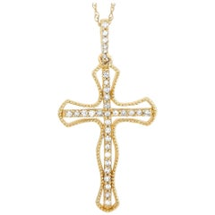 LB Exclusive 14 Karat Yellow Gold 0.20 Carat Diamond Cross Pendant Necklace