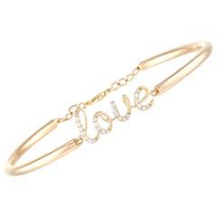 LB Exclusive 14k Yellow Gold 0.25 Ct Diamond Love Bracelet