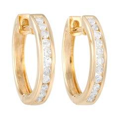 LB Exclusive 14k Yellow Gold 0.35 Ct Diamond Hoop Earrings