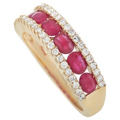 LB Exclusive 14K Yellow Gold 0.38 Ct Diamond and Ruby Ring