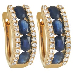 LB Exclusive 14K Yellow Gold 0.39 Ct Diamond and Sapphire Earrings