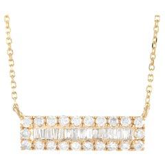 LB Exclusive 14k Yellow Gold 0.50 Ct Diamond Bar Pendant Necklace