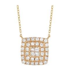 LB Exclusive 14k Yellow Gold 0.50 Ct Diamond Cushion Pendant Necklace