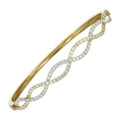 LB Exclusive 14K Yellow Gold Diamond Bangle Bracelet