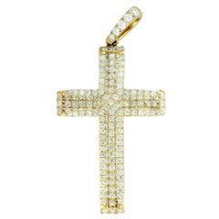 LB Exclusive 14 Karat Yellow Gold Diamond Pave Cross Pendant