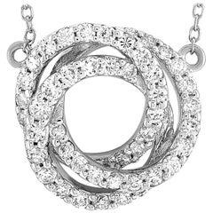 LB Exclusive 18 Karat Gold 0.50 Carat Diamond Pave Interlocking Circles Pendant