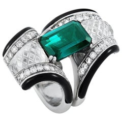LB Exclusive 18 Karat Gold 0.95 Carat Diamond, Onyx, Crystal and Tourmaline Ring