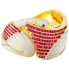 LB Exclusive 18 Karat Gold 1.33 Carat Diamond, Ruby and Mother of Pearl Bracelet