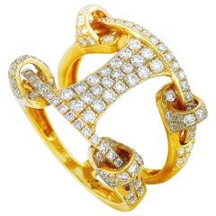LB Exclusive 18 Karat Gold 1.33 Carat Full Diamond Pave Wide Bridge Band Ring