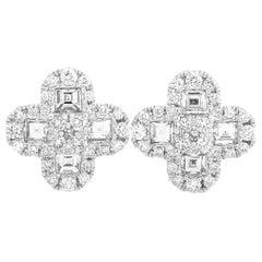 LB Exclusive 18 Karat Gold 1.54 Carat Round/Asscher Diamond Flower Earrings