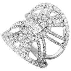 LB Exclusive 18 Karat Gold 1.95 Carat Round and Baguette Diamond Wide Band Ring