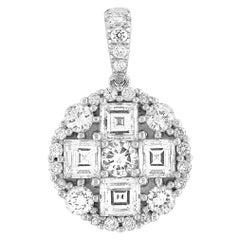 LB Exclusive 18 Karat Gold and 1.21 Carat Round and Asscher Diamond Pendant