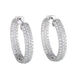 LB Exclusive 18 Karat Gold Inside Out, 5.25 Carat Diamond Pave Hoop Earrings
