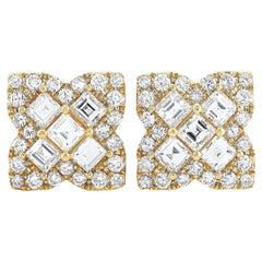 LB Exclusive 18 Karat Gold Round and Asscher Diamond Flower Push Back Earrings