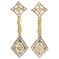 LB Exclusive 18 Karat Gold White and Yellow Diamond Drop Earrings MFC01-082114