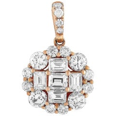 LB Exclusive 18 Karat Rose Gold 1.02 Carat Round/Baguette Diamond Pendant