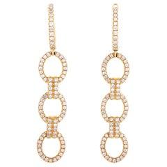 LB Exclusive 18 Karat Rose Gold 1.10 Carat Diamond Drop Earrings