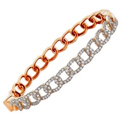 LB Exclusive 18 Karat Rose Gold 1.75 Carat Diamond Chain Bangle Bracelet