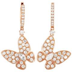 LB Exclusive 18 Karat Rose Gold 1.77 Carat Diamond Butterfly Drop Earrings