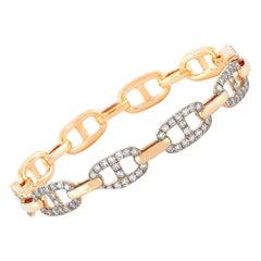 LB Exclusive 18 Karat Rose Gold 2.00 Carat Diamond Chain Bangle Bracelet