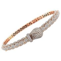 LB Exclusive 18 Karat Rose Gold 2.20 Carat Diamond Belt Bangle Bracelet