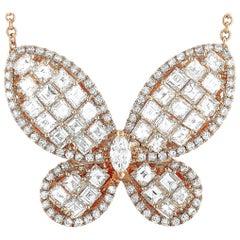 LB Exclusive 18 Karat Rose Gold 5.35 Carat Diamond Butterfly Pendant Necklace