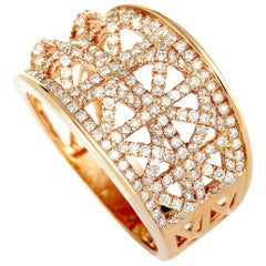 LB Exclusive 18 Karat Rose Gold Diamond Pave Band Ring