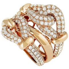 LB Exclusive 18 Karat Rose Gold Diamond Pave Multi-Band Ring