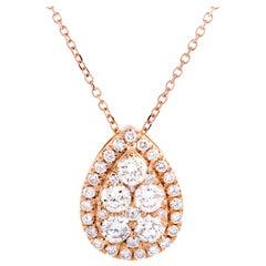 LB Exclusive 18 Karat Rose Gold Diamond Pear Pendant Necklace