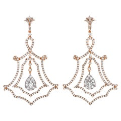 LB Exclusive 18 Karat Rose Gold Full Diamond Pave Lace Drop Earrings