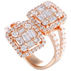 LB Exclusive 18 Karat Rose Gold Round and Baguette Diamonds 2 Square Bypass Ring