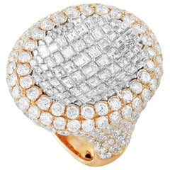 LB Exclusive 18 Karat Rose Gold Round and Square Diamond Cocktail Ring