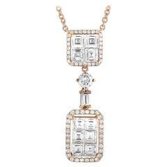 LB Exclusive 18 Karat Rose Gold Round and Square Diamond Necklace