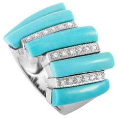 LB Exclusive 18 Karat White Gold 0.20 Carat Diamond and Turquoise Ring