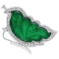 LB Exclusive 18 Karat White Gold 0.32 Carat Diamond and Jade Butterfly Brooch