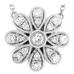 LB Exclusive 18 Karat White Gold 0.35 Carat Diamond Pave Flower Pendant Necklace