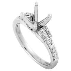 LB Exclusive 18 Karat White Gold 0.36 Carat Diamond Mounting Ring