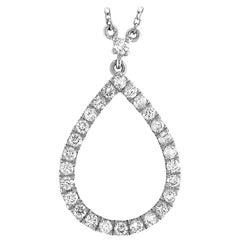 LB Exclusive 18 Karat White Gold 0.62 Carat Diamond Pear Pendant Necklace