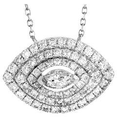 LB Exclusive 18 Karat White Gold 0.66 Carat Round/Marquise Diamond Necklace