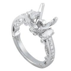 LB Exclusive 18 Karat White Gold 0.85 Carat Diamond Mounting Ring