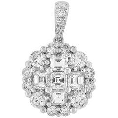 LB Exclusive 18 Karat White Gold 1.17 Carat Round and Asscher Diamond Pendant