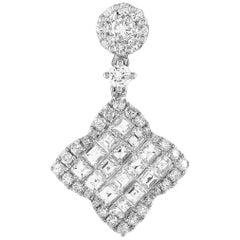 LB Exclusive 18 Karat White Gold 1.25 Carat Round/Asscher Diamond Pendant