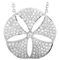 LB Exclusive 18 Karat White Gold 1.30 Carat Diamond Pendant Necklace