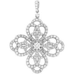LB Exclusive 18 Karat White Gold 1.45 Carat Diamond Flower Pendant