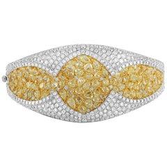 LB Exclusive 18 Karat White Gold 18.10 Carat White and Yellow Diamond Bracelet