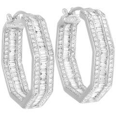 LB Exclusive 18 Karat White Gold 2.70 Carat Diamond Hoop Earrings